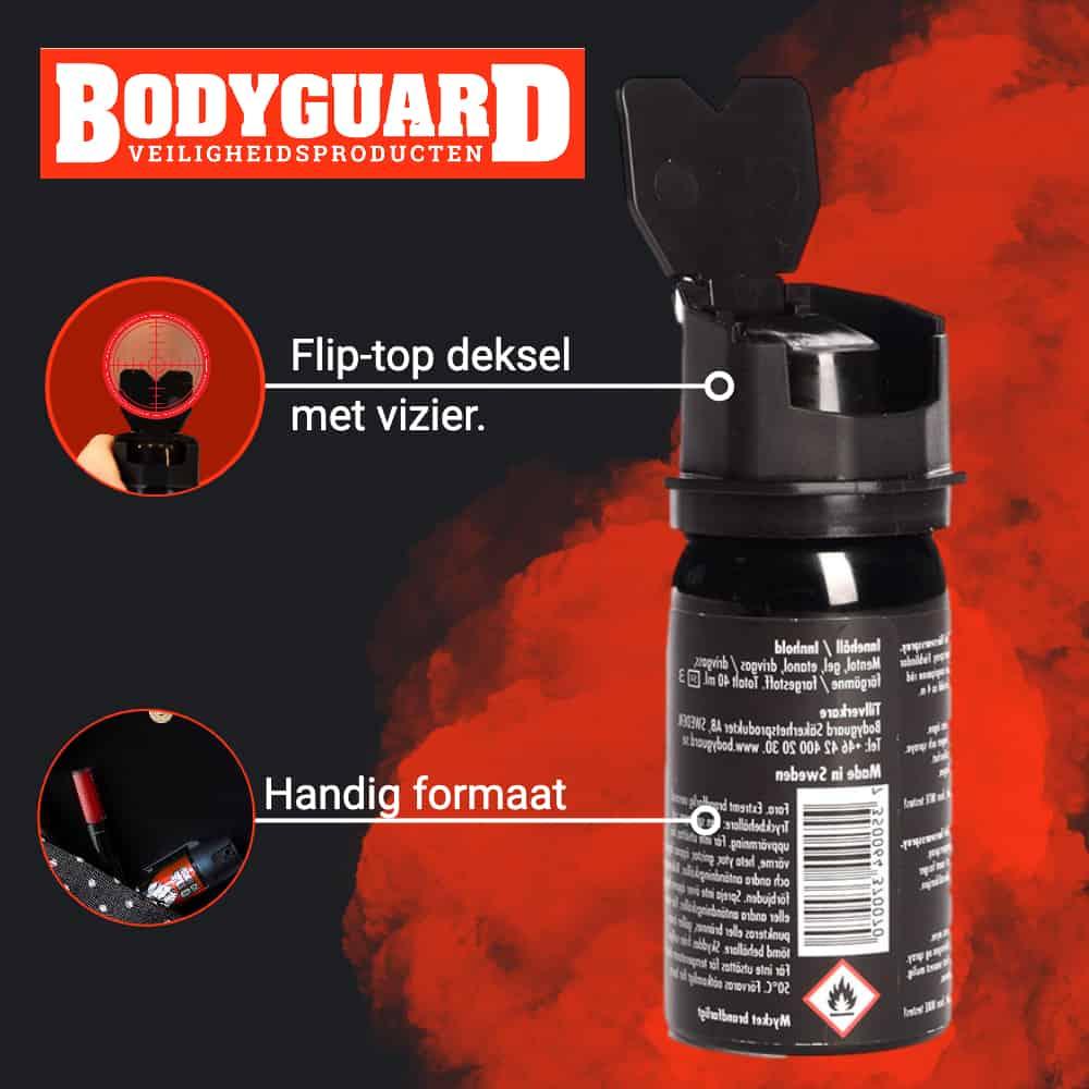 Bodyguard Knock Out - Legaal pepperspray alternatief flip-top deksel